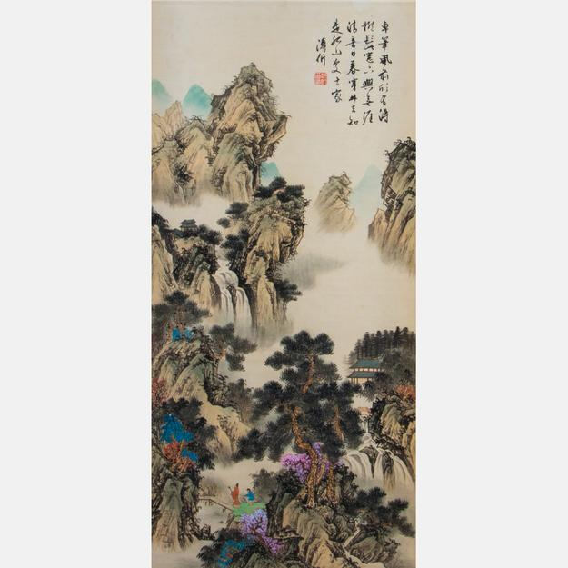 Watercolor and ink on laid paper by Chinese artist Pu Jian (1893-1966), titled Scholar in a Landscape Calligraphy Scroll, 36 ¼ inches tall by 17 ¼ inches wide (est.  $800-$1,200).