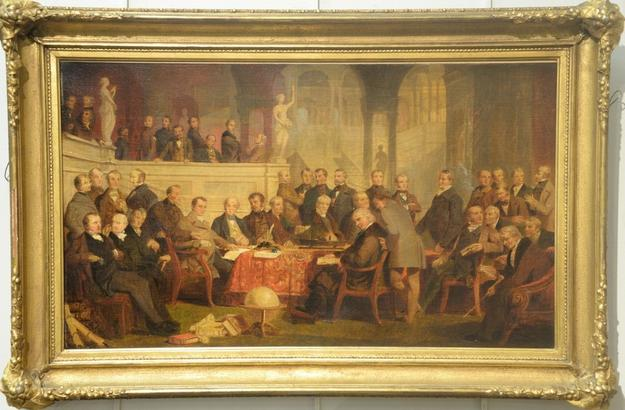 This oil on canvas portrait painting by Thomas Prichard Rossiter (Am., 1818-1871), showing 43 leading American businessmen from the 19th century, sold for $20,400 at the Jan.  1 New Year's Day sale.