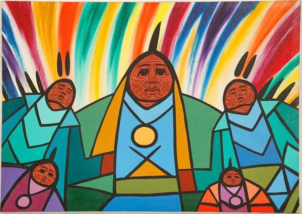 Vivid original acrylic painting by Jerry Whitehead, titled We Are Close, a wonderful example of the artist's unique style and focus on powwows and powwow dancers (est.  $10,000-$12,000).