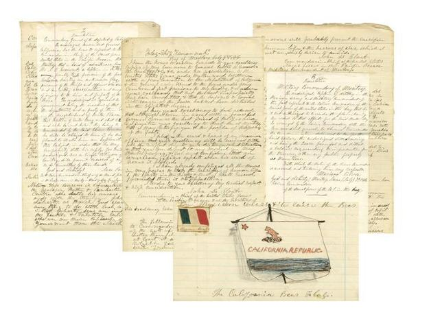 "Pages out of a ship's log from June 1846 describing California's famous ""Bear Flag Revolt"" that led to the state's breakaway from Mexico and eventual statehood."