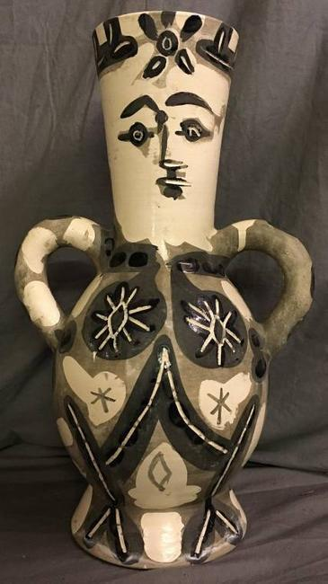 White earthenware two-handled vase by Pablo Picasso from 1952, one in an edition of 400 and 15 inches tall ($37,200).