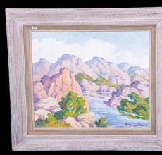 Ten artworks by Birger Sandzen (Swedish-American, 1871-1954), including this painting titled Elko River Nevada, will be sold Feb.  18 by Woody Auction in Douglass, Kansas.