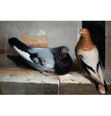"Oil on canvas painting of Two Pigeons on a Ledge, signed and dated lower right (""1879"") by Italian artist Marz Sofra and nicely housed in a heavy gilt frame (est.  $1,500-$2,500)."