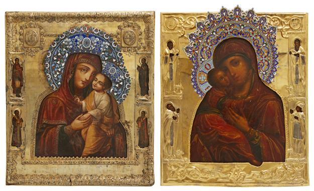 Beautiful pair of 19th century Russian icons, both depicting the Virgin Mary, to be sold as single lots with estimates of $1,000-$1,500 each.