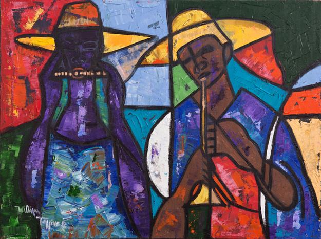 Original oil painting by William Tolliver (La., 1951-2000), titled African Musician (est.  $6,000-$9,000).