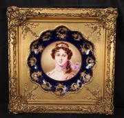 Beautiful Victorian hand-painted plate in a gold leaf frame, signed Aynsley (England), 13 inches by 13 inches.