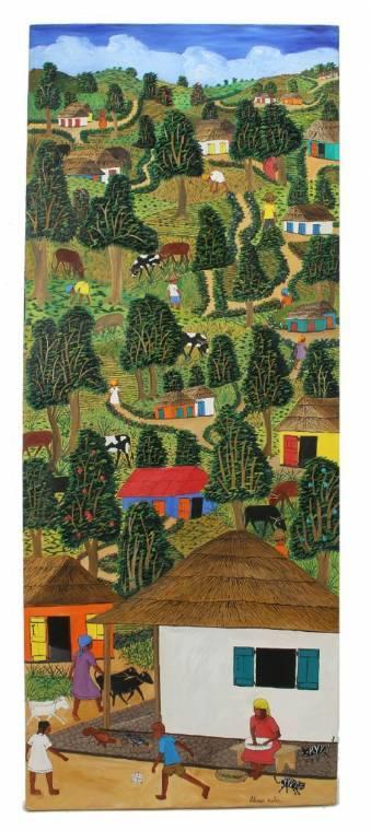 Tall vertical painting of a village scene by Haitian artist Abner Dubic (b.  1944), 48 inches by 18 inches (est.  $400-$600).