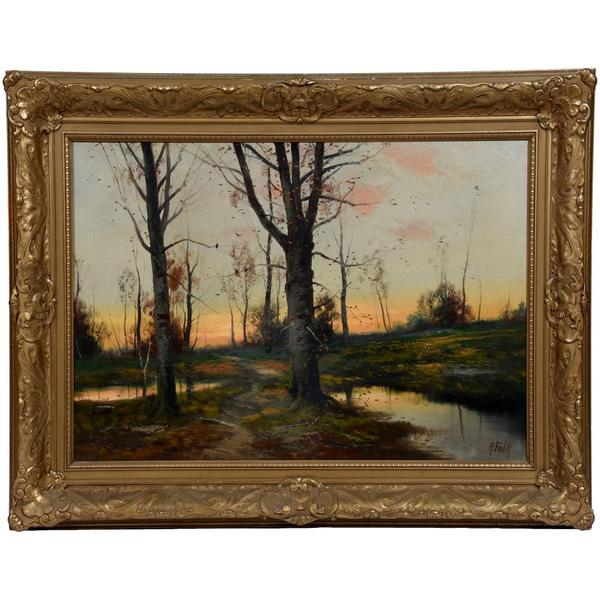 Oil on canvas painting by the Russian artist Robert Rafailovich Falk (1886-1958) depicting a classic scene of a pathway through trees along a stream, mounted in the original gilt wooden frame.