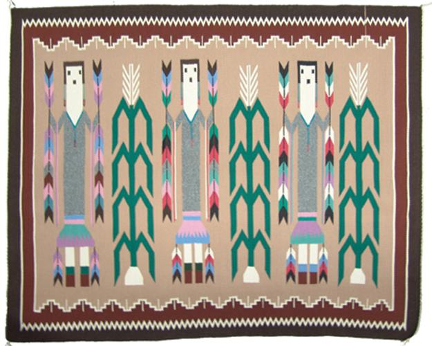 Fine weave pictorial Navajo rug (weaving) by Lena Poyer, 50 inches by 40 inches, depicting Yei figures (est.  $3,000-$6,000).