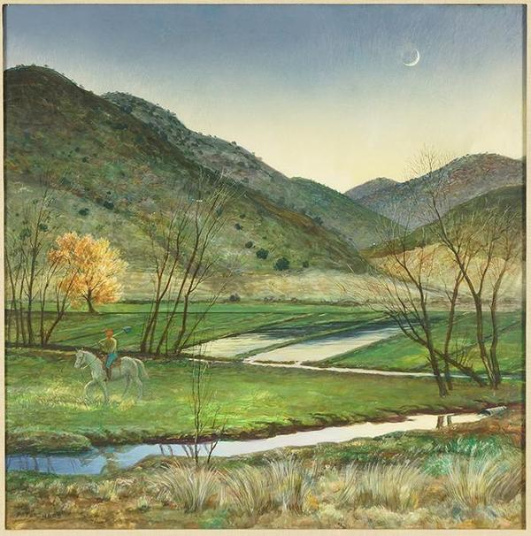 Egg tempera on board by Peter Hurd (American, 1904-1984), titled Day's End, signed lower left and measuring 22 inches by 22 inches (sight) (est.  $1,500-$2,000).