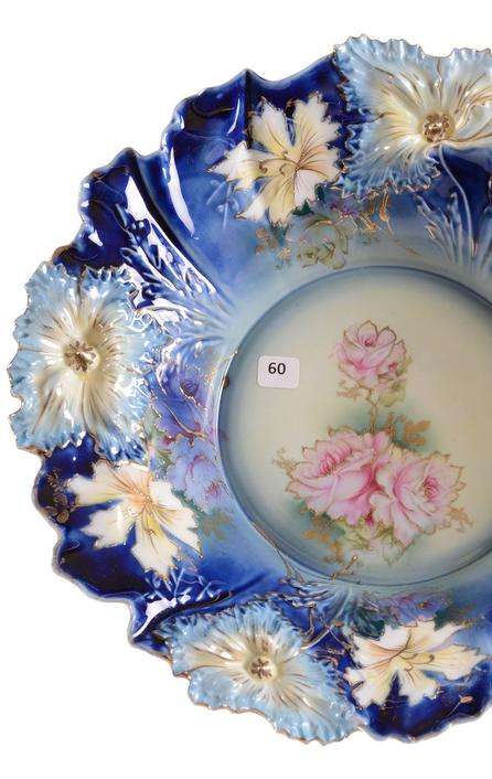 R.  S.  Prussia cobalt blue bowl, a 15-inch carnation mold example, yellow and cobalt blue with pink and yellow rose decor and gold stencil highlights.