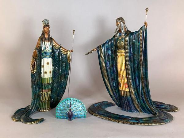 Pair of cold patinated and parcel gilt bronzes by Erté titled Zeus and Hera (1989), both signed by Erté and numbered 323 of 500.  A small peacock is included in the lot (est.  $4,000-$6,000).
