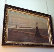 Large oil on canvas done in the manner of Winslow Homer (Am., 1836-1910), 50 inches by 75 inches, depicting a lady at a New England seashore, nicely framed, with museum labels on back.