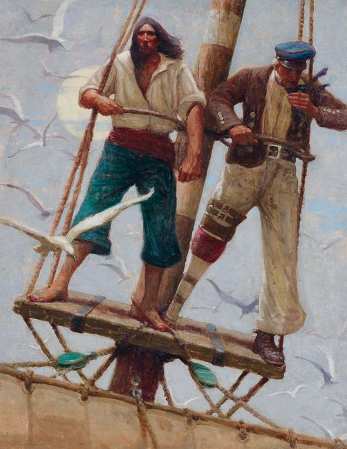 Mead Schaeffer, frontispiece & dustjacket illustration for Moby Dick, oil on canvas, 1922.  Estimate $25,000 to $35,000.