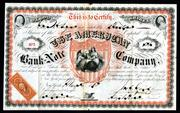 Beautiful and rare American Bank Note Company 1868 stock certificate rarity.