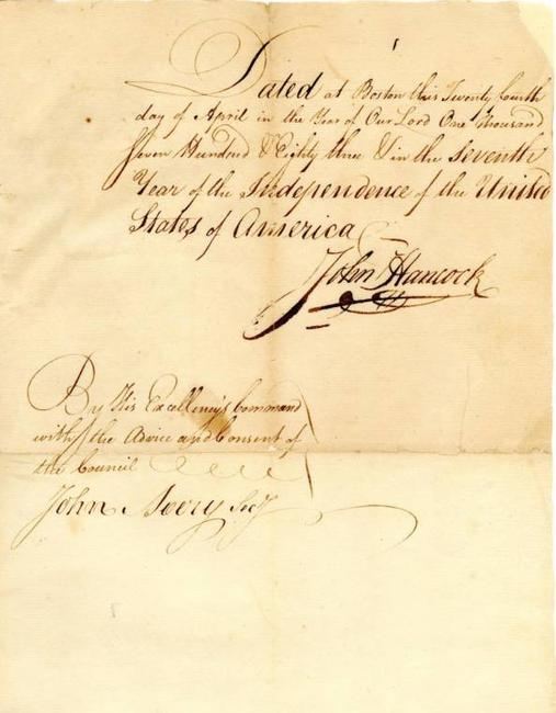 Superb John Hancock signed manuscript from 1783 in remarkable condition, with a bold version of one of the most recognizable and famous signatures in history (est.  $4,000-$5,000).