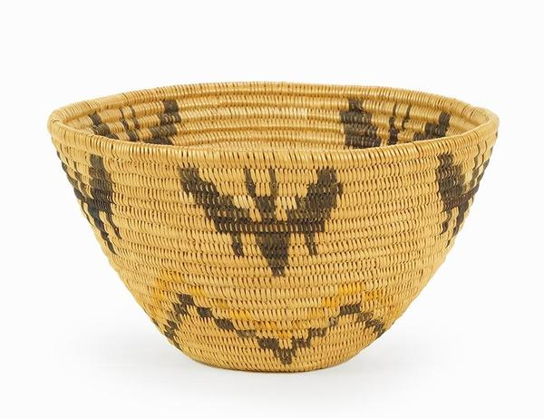 Panamint woven basket with a lovely butterfly pattern, made in Southern California in the early 20th century, 4 inches by 7 inches (est.  $1,000-$1,500).