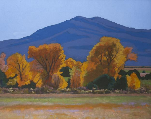 Pastel on paper under glass painting by Mary Silverwood (N.M., 1932-2011), titled Cottonwoods (est.  $300-$500).