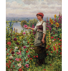 DANIEL RIDGWAY KNIGHT, American (1839-1924), Summer Afternoon, Seine Valley, oil on canvas, signed, 32 ¾ x 25 ¾ inches, Estimate $35,000-45,000