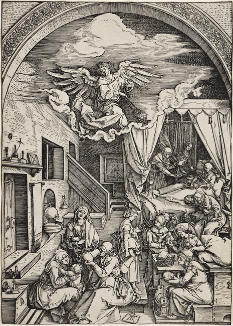Albrecht Dürer, The Birth of the Virgin, woodcut, circa 1503.  Estimate $15,000 to $20,000.