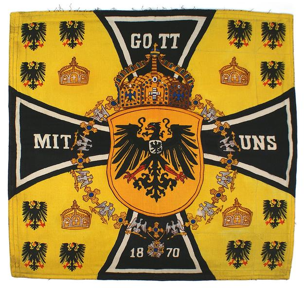The personal automobile standard of Prussian Kaiser Wilhelm II, displaying his family crest, plus three other official fender flags (minimum bid: $18,000).