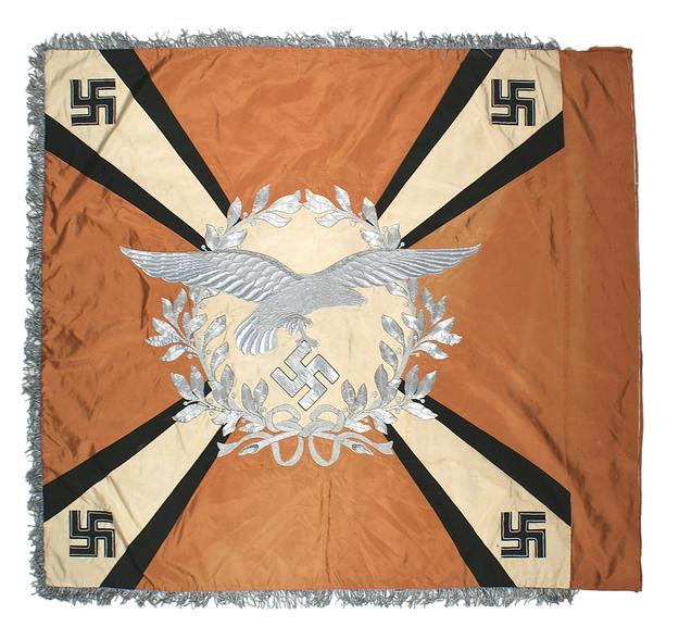 This World War II Nazi Luftwaffe Signal Regiment standard, beautifully embroidered, 4 feet by 4 feet, has a minimum bid of $16,500.