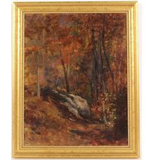 Oil paintings will feature an oil on canvas by the renowned artist and designer Louis C.  Tiffany (American, 1848-1933), titled Woods Landscape, signed lower left.