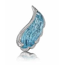 """Feather"" Aquamarine and Diamond Brooch by Naomi Sarna, featuring a 91.64 ct.  aquamarine."