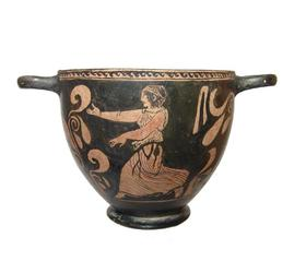 Greek Lucanian red-figure skyphos (deep, cup-shaped vessel with a pair of horizontal handles to the rim), possibly from the Intermediate Group (circa 400-375 BC) (est.  $6,000-$9,000).