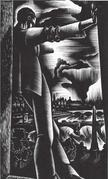 Lynd Ward frontispiece illustration for Thirteen Such Years by Alec Waugh wood engraving illustration NY: Farrar & Rinehart, 1932 Collection of Robert Dance