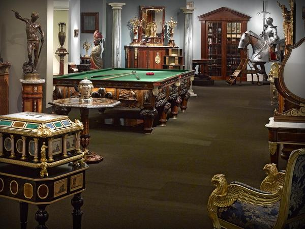 M.S.  Rau Antiques's main gallery space, displaying their varied collection of fine art and antiques.
