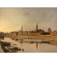 Richard Maury (1935-2020), Florence, 1968, Oil on canvas laid to panel, 31 1/2 x 39 3/8 inches.  Est.  $6,000-9,000.  Lot 96.
