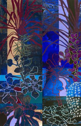 Midnight in the Huntington Library Cactus Garden, 2014, Mixed Media on Canvas - Triptych, 108 x 132 inches