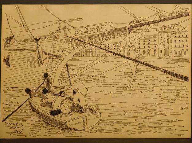 Ink drawing on buff toned paper by Man Ray (Am./Fr., 1890-1976), titled Ship, Sailors and a Woman, signed and dated 1936 (est.  $6,000-$10,000).