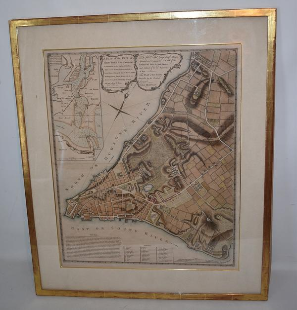 Pre-Revolutionary War map of New York City by John Montresor (British, 1736-1799), titled A Plan of the City of New York & Its Environs, published in 1775 by A.  Dury in London, England.