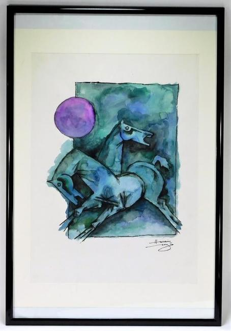 "Watercolor painting by Maqbool Fida Hussain (India/England, 1913-2011), ""the Picasso of India"", a Cubist figural rendering depicting two galloping blue horses ($13,750)."