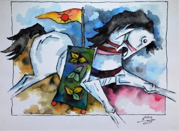 Watercolor painting by Maqbool Hussain (Indian, 1915-2011), titled Raging Horse, of a leaping white horse with open mouth draped with a green saddle blanket ($16,250).