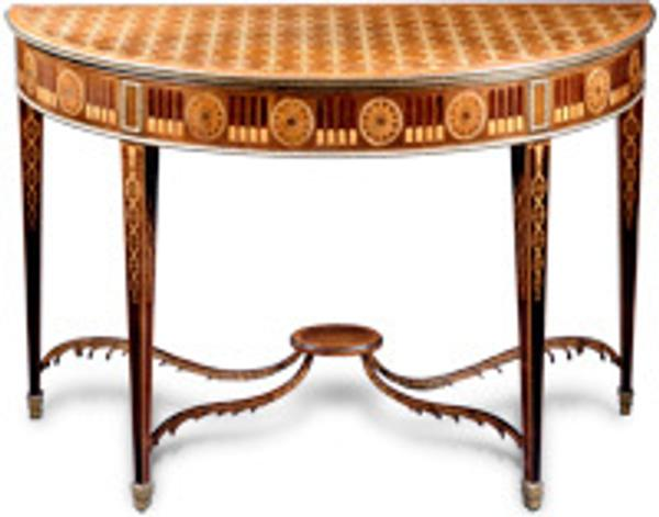 A rare and extraordinary pair of George III marquetry tables.  England.  Circa 1780.  Clinton Howell Antiques.