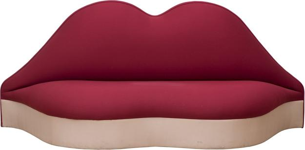 Salvador Dali (1904-Figueras-1989) Mae West Lips Sofa.  Tissue and wood, 224 x 75 x 85 cm.  From TEFAF exhibitor Patrick Derom Gallery.