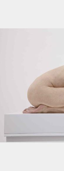 Sam Jinks, Untitled (Kneeling Woman), edition 1 of 5 + 2APs, 2015.  Silicone, pigment, resin, human hair.  30 x 28 x 72 cm.  Edition of 5 + 2AP