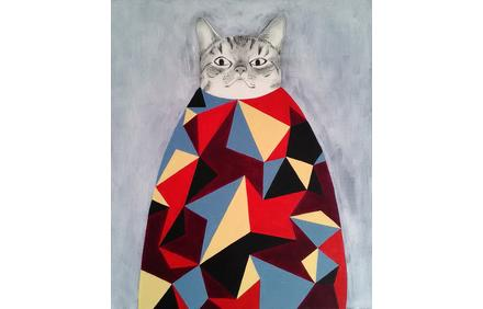 """Cat Mountain"" by Katsunori Miyagi.  Acrylic, pencil on canvas 21″ x 18″"