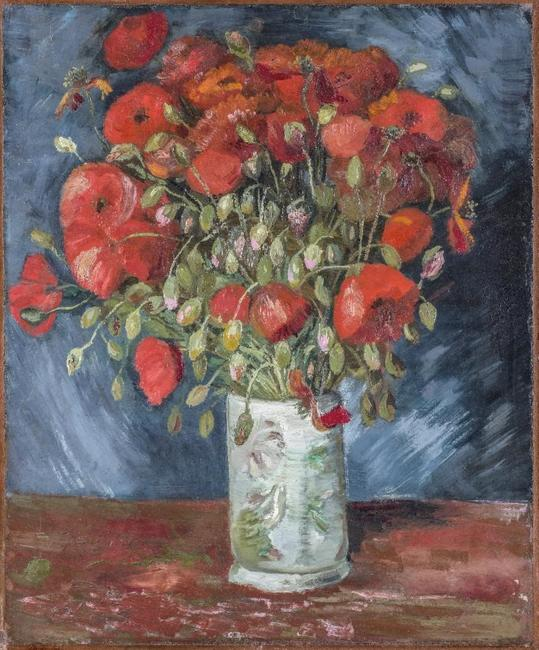 Vincent Van Gogh (Dutch, 1853-1890), Vase with Poppies, c.  1886.  Oil on canvas.  21 1/2 x 17 3/4 in.  Bequest of Anne Parrish Titzell.  1957.617