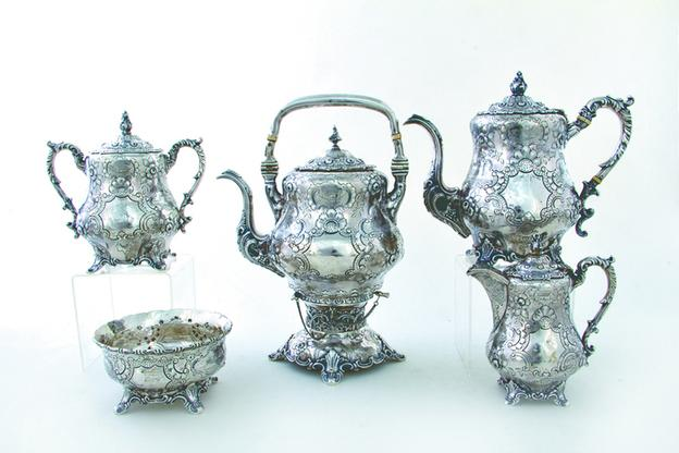 Lot 812-An American coin silver five-piece tea service, Wm.  Gale & Son, dated 1850 and estimated at $4,000-$6,000.
