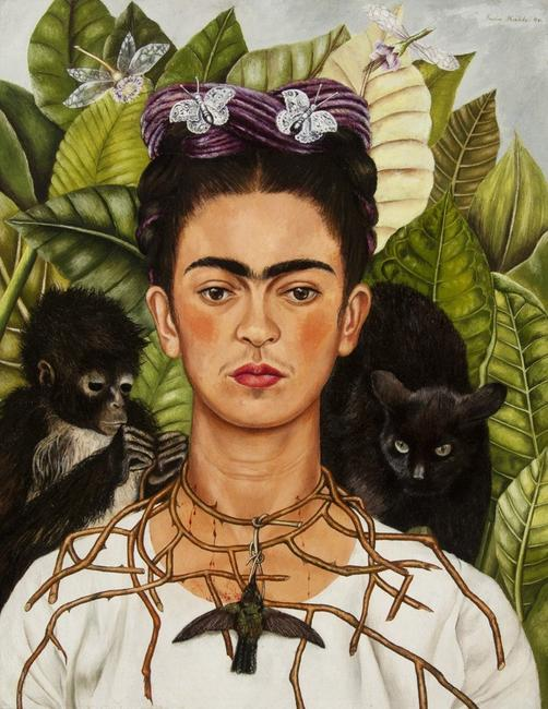 Self‑Portrait with Hummingbird and Thorn.  Frida Kahlo (Mexican, 1907–1954).  1940.  Oil on masonite.  *Nickolas Muray Collection of Modern Mexican Art, Harry Ransom Center, The University of Texas at Austin.  © 2018 Banco de México Diego Rivera Frida Kahlo Museums Trust, Mexico, D.F.  / Artists Rights Society (ARS), New York.