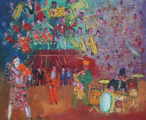 Gavin Spanierman, ltd of New York, NY, sold Jean Dufy (1888-1964), Les Clowns Musiciens, Oil on canvas, 18 x 21 5/8 inches.