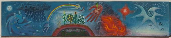 MIGUEL COVARRUBIAS (Mexican, 1904 – 1957) Genesis, The Gift of Life, c.  1954.  Tempera on cardboard laid on panel, 16 × 43 1/4 in.  (40.64 × 109.86 cm) (framed) Dallas Museum of Art, gift of Jorge Baldor