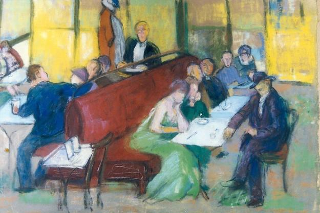 Anna Walinska, Paris Cafe, 1929, pastel on paper, 12 x 17.5