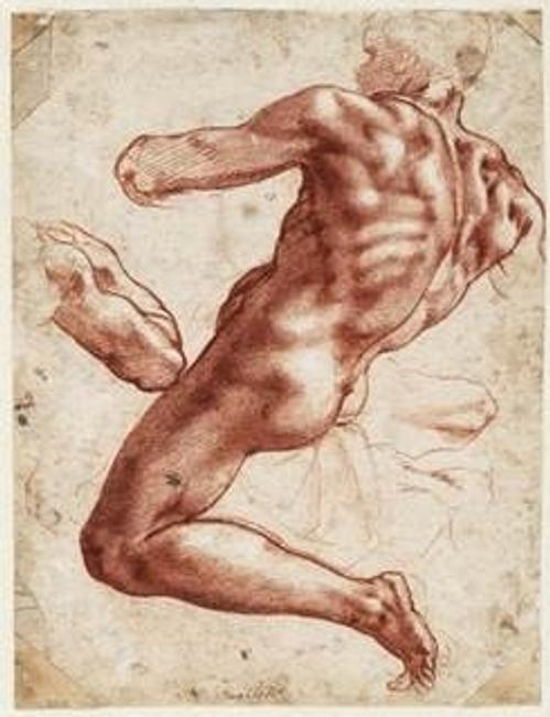 Michelangelo (1475-1564) Seated Male Nude, 1511, Red chalk heightened with white.