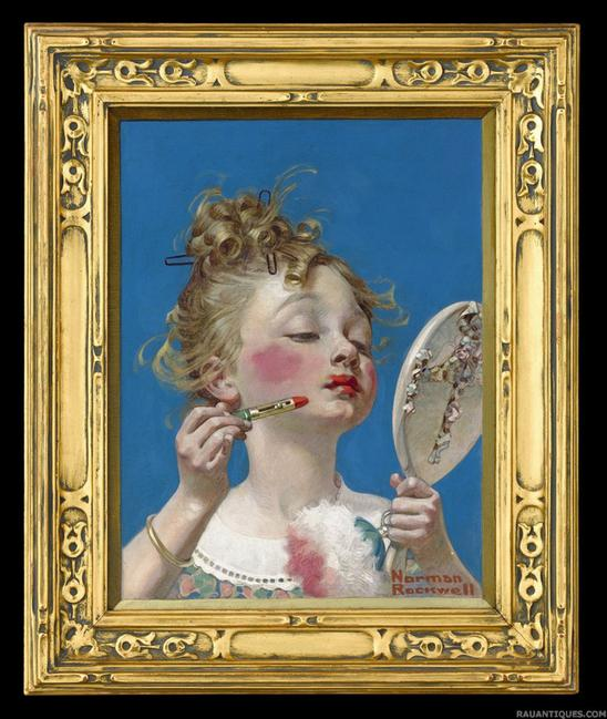 "With an asking price of $845,000, M.S.  Rau Antiques sold a charming composition by Norman Rockwell titled ""Little Girl with Lipstick."""