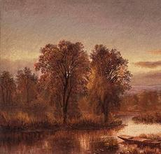 MARY JOSEPHINE WALTERS (1837 --- 1883) Autumn River with Punt in the Reeds.  Oil on canvas, 13 ¼ x 23 ¾ inches, Signed on stretcher